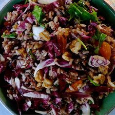 Wild Rice Salad with Radicchio, Apricots, and Walnuts #meatlessmonday #meatless #vegan