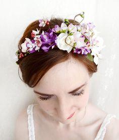 Bridal Wreaths Hair   bridal flower wreath, head wreath, purple floral crown, wedding hair ...