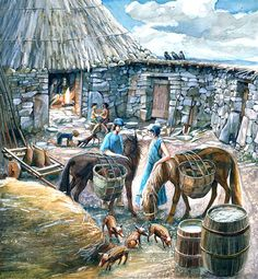 Reconstruction of a courtyard house showing occupants and their animals in Chysauster Ancient Village around the 1st to 2nd Centuries CE by Judith Dobie