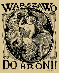 7 Cool Depictions of the Warsaw Mermaid Weird Creatures, Mythical Creatures, Tarot, Sea Siren, Etching Prints, Book Of Kells, 1 Tattoo, Mermaids And Mermen, The Revenant