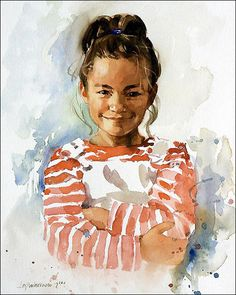 Watercolor Portrait by Ben Lustenhouwer, a talented portrait painter from Spain.