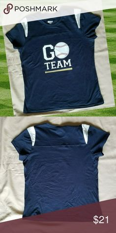 Baseball Fan T-shirt Cheer on your favorite player regardless of the team! Navy Blue with white and heather grey shoulder insets.  Baseball Mom, Girlfriend, Sister, Fan!  Ladies fit, on the smaller side. 100% cotton   Bundle for the best deal.  Price firm unless bundled,  only 15% off bundle discount applies to boutique items. Tops Tees - Short Sleeve