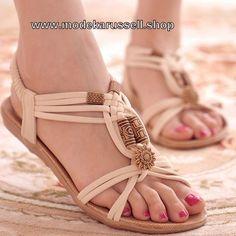 Flachen Damen Sandalen in Gladiator Style Weiß