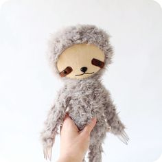 Kawaii Sloth Stuffed Animal Plushie in Gray by bijoukitty on Etsy