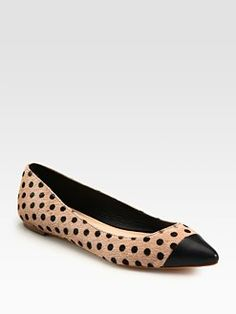 Love these! Loeffler Randall - Natalie Polka-Dot Calf Hair and Leather Point Toe Ballet Flats