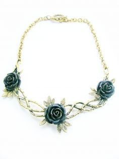 Rose Garden Necklace in Brass and