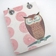Small Refillable Recycled Notepad, Vintage Owl on Red and White Pinwheel Design. $9.00, via Etsy.