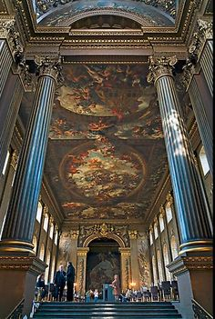Painted Hall of Greenwich Hospital, decorated by Sir James Thornhill. Greenwich, London, England