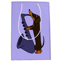 Funny Dachshund Playing Saxophone Gift Bag #dachshunds #dogs #music #giftbags #saxophone #funny And www.zazzle.com/petspower*