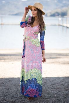 On And On Vintage Print Belted Maxi Dress (Multi Color) - NanaMacs.com - 2