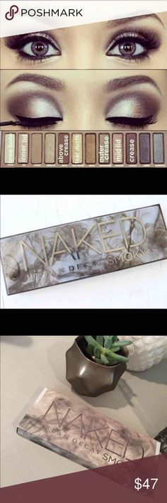 Naked Urban Decay Smoky Eye Palette Makeup New!!!   Shades included:  High (champagne shimmer w/micro-glitter) Dirtysweet (medium bronze) Radar (metallic taupe w/iridescent micro-glitter) Armor (metallic silver-taupe w/tonal sparkle) Slanted (light metallic gray) Dagger (medium charcoal w/micro-shimmer) Black Market (jet-black satin) Smolder (deep plum-taupe) Password (cool taupe matte) Whiskey (rich brown matte) Combust (soft pink-taupe) Thirteen (light beige satin) Urban Decay Makeup…