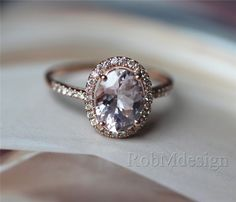 Classic Oval Cut 79mm Morganite and Diamond Ring 14k by RobMdesign