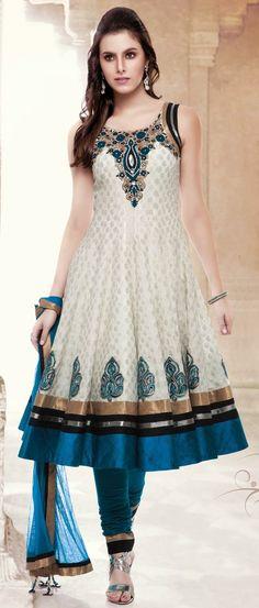 Off White #Chanderi Art #Silk Readymade #Churidar Kameez @ $173.3