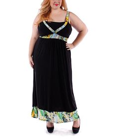 Love this Black & Yellow Floral Maxi Dress - Plus by Yummy on #zulily! #zulilyfinds