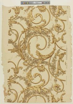 Large scale entwined scrolls with acanthus leaves on a field of foliate garlands. Printed in metallic gold, tan, dark brown, metallic brass, and taupe on a beige embossed field. Motif Baroque, Baroque Pattern, Textures Patterns, Print Patterns, Motif Arabesque, Striped Walls, Ornaments Design, Hand Embroidery Designs, Ceiling Design