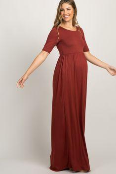 Rust Short Sleeve Pleated Maxi Dress