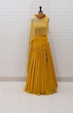 ABRIANA : Spicy Mustard Kundan Drape sleeveless Top with box pleated collar and Lehenga. #Yoshita #Lehenga #Yellow #Burano