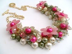 $23.62 Pink and Sage Green Beaded Necklace with Ivory Pearls by KIMMSMITH