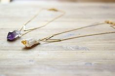 NATURAL Raw Crystal Amethyst Citrine Necklace by underanewlight, $37.00