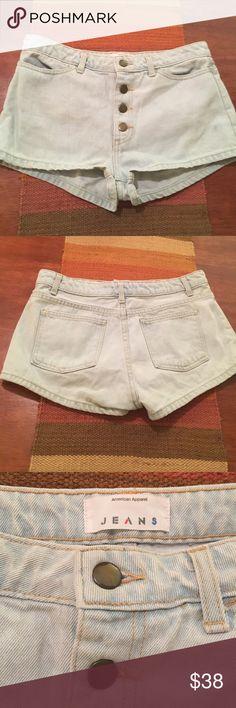American Apparel high waisted retro denim shorts American Apparel high waisted retro light denim shorts size 29. Like new worn once! American Apparel Shorts Jean Shorts