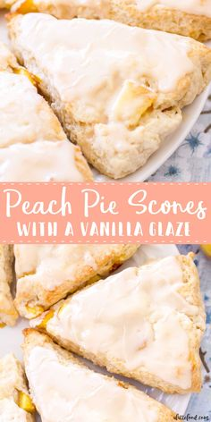 easy Peach Pie Scones taste just like peach pie! Peaches 'n Cream Scones are the perfect summer breakfast or summer brunch recipe! With their sweet vanilla glaze, these peach cream scones taste like they have a scoop of vanilla ice cream on top! Peach Scones, Cream Scones, Orange Scones, Lemon Scones, Köstliche Desserts, Delicious Desserts, Dessert Recipes, Summer Desserts, Easy Peach Pie