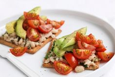 Smashed white beans, cherry tomatoes and avocado