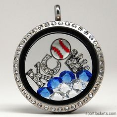 Kansas City baseball themed locket necklace from SportLockets.com.  Customize with your own letters!