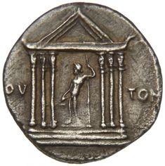 Denario - argento - Colonia Patricia (Cordoba) (19 a.C. Ottaviano) - fronte di tempio esastilo con statua di Giove con scettro e fascio di fulmini - Münzkabinett Berlin