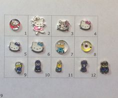 HELLO KITTY or MINION floating charm  by JMLReflections on Etsy
