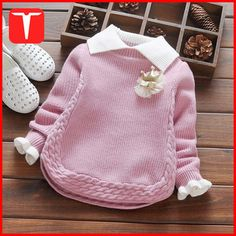 Baby Mädchen Winter Pullover Kragen Kinder Kleidung Baby … - Knitting For Kids Baby Knitting Patterns, Knitting For Kids, Knitting Designs, Crochet Ideas, Girls Sweaters, Baby Sweaters, Cable Knit Sweaters, Pullover Sweaters, Toddler Girl Outfits