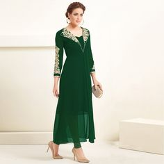 Buy Green Long Georgette Kurti - Latest Kurti's Online Shopping At Peachmode