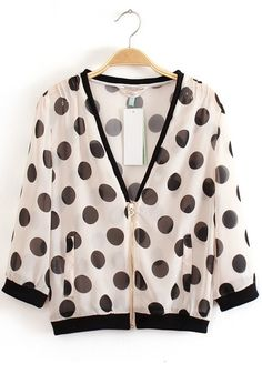 Multicolor Polka Dot V-neck Polyester Trench Coat