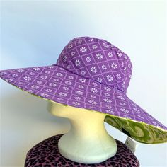 Retro Green & Purple Reversible Sun Hat - Girls / Ladies, paisley flower daisy. All the shade you need from the Australian summer. Available on madeit.com.au