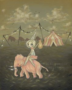 CIRCUS lowbrow pink wooly mammoth art print big eye by WhiteStag
