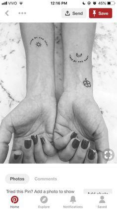 tattoo Mini Tattoos, Little Tattoos, Small Tattoos, Dainty Tattoos, Body Art Tattoos, New Tattoos, Tatoos, Sibling Tattoos, Couple Tattoos