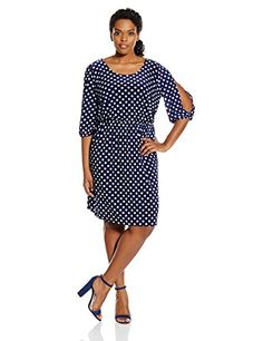 Star Vixen Women's Plus-Size Polka Dot Dress, Navy/White Dot - http://www.womansindex.com/star-vixen-womens-plus-size-polka-dot-dress-navywhite-dot/ #StarVixen #PlusSize