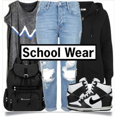 Back to School Style by madeinmalaysia on Polyvore featuring Topshop, NIKE, Sherpani, shoes, bag, top, pants and hoodie