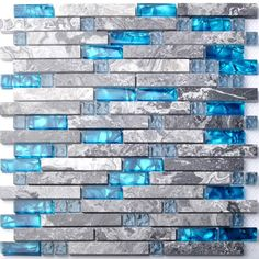 TST Mosaic Tiles Home Building Glass Tile Kitchen Backsplash Idea Bath Shower Wall Decor Blue Gray Wave Marble Interlocking Pattern Art Mosaics Sample Glass Mosaic Tiles, Wall Tiles, Blue Mosaic, Marble Mosaic, Mosaic Art, Grey Marble Bathroom, Gray Marble, Bathroom Wall, Ocean Bathroom