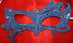 Blue embroidered lace mask by EcoArtCreations for $25.00