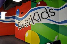 Worlds of Wow - Fun color splash theme at the entrance to the children's building at Riverbend Church in Austin, TX. Kids Church Stage, Kids Church Decor, Youth Decor, Kids Church Rooms, Church Stage Design, Church Nursery, Kids Decor, Church Ideas, Church Foyer