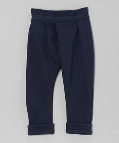 Navy Asymmetrical Pleated Pants - Infant, Toddler & Girls by OmamiMini