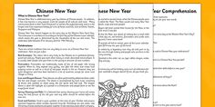 Chinese New Year Reading Comprehension Activities