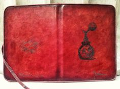 iPad Mini Leather Case with Stand & Vintage Perfume Theme by HarrismaLeatherGoods