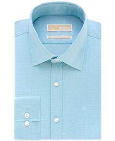 Michael Michael Kors Classic-Fit Non-Iron Houndstooth Dress Shirt - Blue 17 32/33
