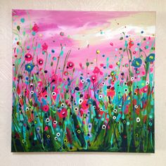 'Light up my life' 50x50cm abstract acrylic floral flower field painting on canvas by Leanne Hughes. View more at DegreeArt.com