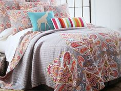 MEDALLIONS Red Gray Aqua 3pc KING Quilt SET CYNTHIA ROWLEY FLORAL PAISLEY Cotton | Home & Garden, Bedding, Quilts, Bedspreads & Coverlets | eBay!