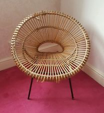 Retro VINTAGE WICKER 1960's Cane Egg Bucket Chair ATOMIC legs