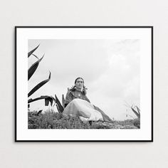 Frida Kahlo Print - Fine Art Giclee - Frida Kahlo Photo - Agave - Black and White Wall Art - Mexican Artist - Vogue Fashion Photo - Feminist