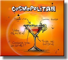 Cosmopolitan Cocktail Recipe Drink Picture on Stretched Canvas, Wall Art Decor, Ready to Hang!