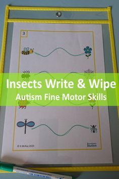 Looking for an Insects Write & Wipe activity to help your kids with autism parctice their fine motor skills? Download these printable pages today from Curriculum For Autism for your classroom or home school